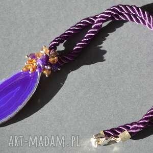 Naszyjnik z fioletowym agatem, agat, kryształ, ametyst