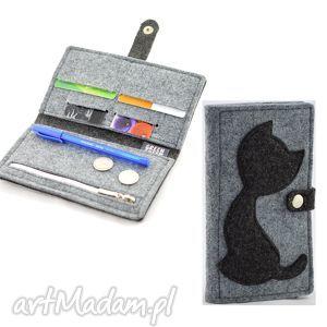 filcowy portfel z kotkiem- midi- szary i grafit, filc, filcowy, kot, kotek, szarości