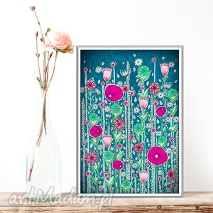 łąka 50x70cm, łąka, kwiaty, maki, plakat grafika
