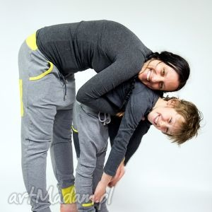 spodnie duet - mama i dziecko szary limonka , yoga, baggy, taniec, dresowe
