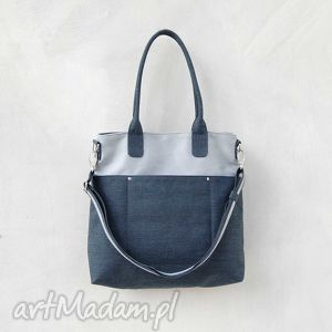 fiella - duża torba granat i szaro niebieski, modna, klasyczna, uniwersalna