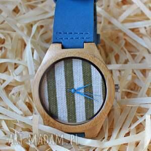 Drewniany zegarek z bambusa tkaniną na tarczy, zegarek, drewniany, tkanina, paski