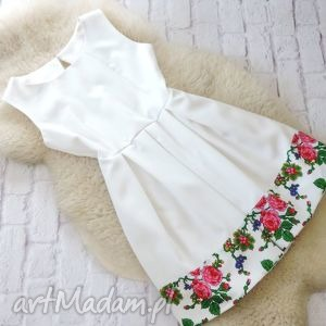 Biała sukienka kontrafałdy góralska folk, sukienka, kontrafałdy, biała, cleo
