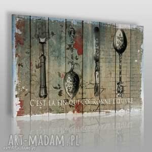 obrazy obraz na płótnie - sztućce deski 120x80 cm 46801 , sztućce, łyżki, widelec
