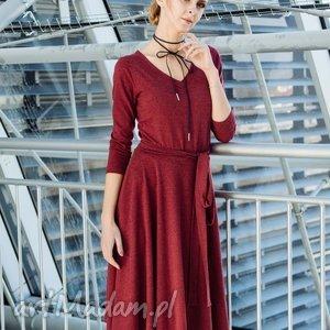 v-neck sukienka z dzianiny, ubrania