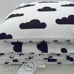 150x200 pościel dwustronna chmurki gwiazdki biało - czarna, pościel, bawełna