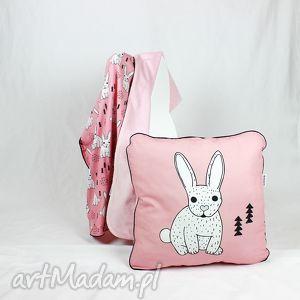 Poduszka Królik Róż 46x46, poduszka, dekoracyjna, pościel, dziecko, minky, królik