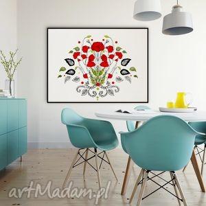 kwiaty naszych pól maki - 30x40 cm , plakat, kwiaty, maki, ilustracja, wydruk, folk