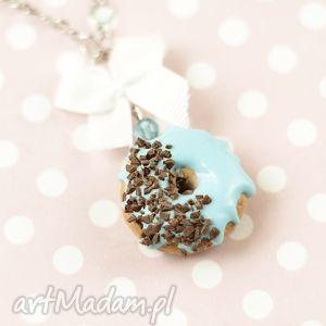 naszyjnik pączek donut morski z czekoladą, naszyjnik, modelina, donut