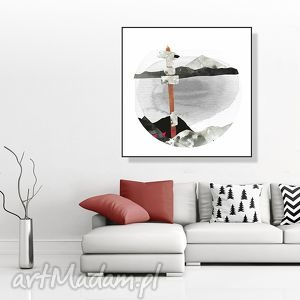 grafika górskie szlaki ilustracja 30x30 cm , grafika, góry, krajobraz, pejzaż