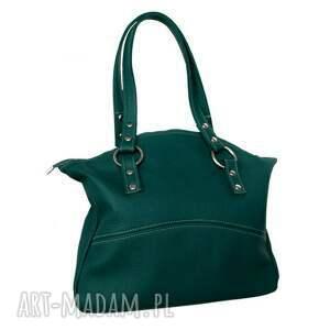 41-0004 Turkusowa torba skórzana z pięknymi kołami / błyszczące nity ROLLER, modne