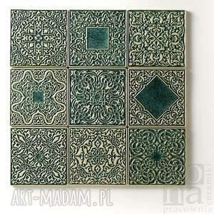 ceramika kafle dziewięć ornamentów zielone, dekory, kafle, płytki, ścienne