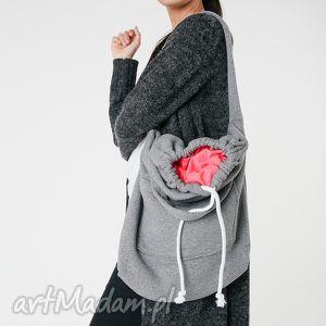 na ramię torba dzianinowa worek szaro-koralowa, worek, duża, pojemna