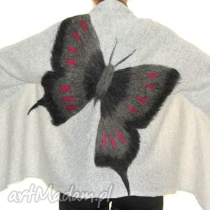 Prezent Narzutka wełną zdobiona., filcowanie, motyle, prezent, dzianina