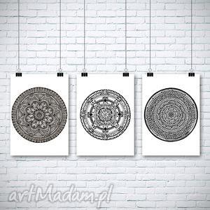 zestaw 3 prac, plakat, mandala grafika dom