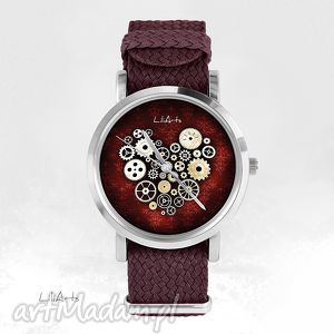 zegarek, bransoletka - serce steampunk, bordo bordowy, nato