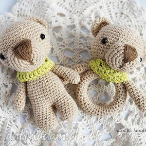 maskotki dwa misie - grzechotka i przytulanka komplet, niemowlę, dziecko