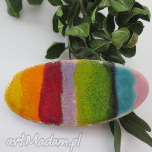 pełna koloru broszka ceramiczna - ceramika, broszka, z, ceramiki, tęczowa