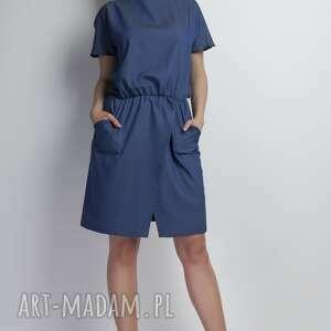 Sukienka, SUK120 jeans, jeansowa, asymetryczna, kokardka, kieszenie, casual, midi