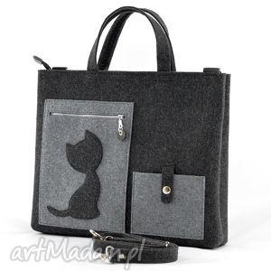 green sheep torebka filcowa - laptopówka z kotem, filc, torba, laptop, torebka, kot