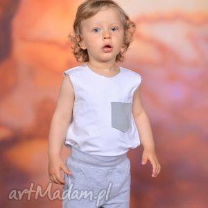 letnia bokserka z kieszonką biała, bawełna, handmade, surowe, top, kieszonka