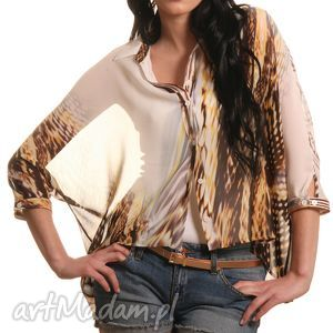 bluzki wzorzysta koszula ze zwierzęcym wzorem, koszula, letnia, wzorzysta, lekka