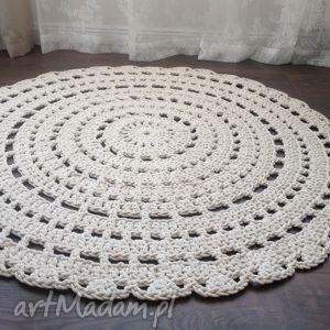 dywany ręcznie robiony okrągły dywan ze sznurka bawełnianego - beżowy