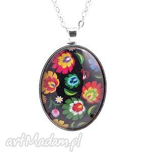 Medalion Folk black, medalion, wisiorek, folk, łowicz, folkowy, kwiaty