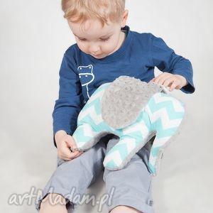 mięciutki słonik - minky bawełna turkusowe zygzaki, minky, zabawka, prezent