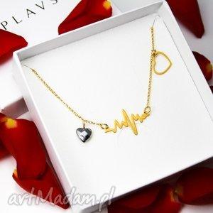 naszyjnik serce puls srebro 925 pozŁacane - naszyjnik, walentynki, serce, srebro, puls