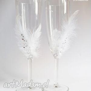 ślub kieliszki pary młodej piórka 2 sztuki, kieliszki, szampanówki, dekoracje