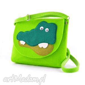 torebka dla dziewczynki z filcu- zielony krokodyl- dziecięca, torebeczka