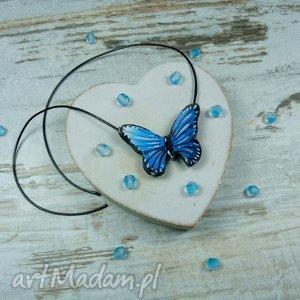 Wisiorek - zawieszka błękitny motyl, zawieszka, wisiorek, fimo, handmade