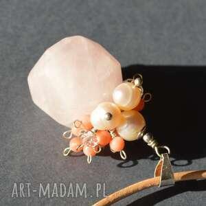 Naszyjnik z kwarcem różowym, kwarc, koral, kryształ, perły