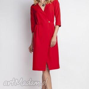 Sukienka, SUK131 czerwony, minimalizm, dekoltv, midi, kobieca, seksowna, sukienka