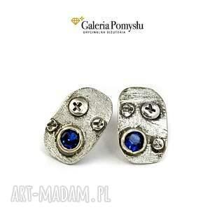 niebieska cyrkonia, sztyfty, srebro, 925, prezent na święta