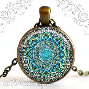turkusowa mandala naszyjnik antyczny z mandalą w szkle, antyczny, folk, etno
