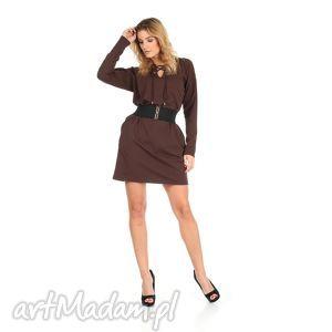46-sukienka sznurowany dekolt,brązowa,rękaw długi,pasek , lalu, sukienka, dzianina