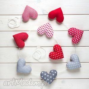 sercowa pozioma girlanda, 9 serc, dekoracja, serce, bawełniane, prezent