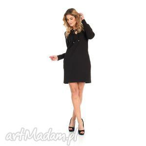 ręcznie zrobione sukienki 46-sukienka sznurowany dekolt, czarna, rękaw długi