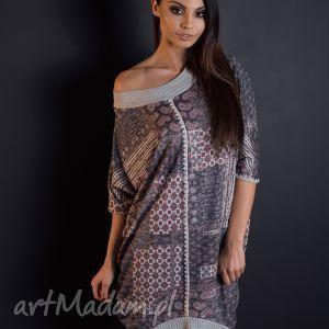 Kolorowa sukienka oversize ze ściągaczami, rozmiar M, dzianina, druk, bluzka