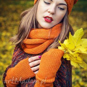 rękawiczki mitenki pomarańczowe, wełna, mitenki