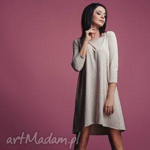Sukienka T162, lekko rozkloszowana, beżowa ze złotą nitką, sukienka, rozkloszowana