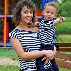 komplet marynarskich koszulek dla mamy i synka córki , paski, marynarski