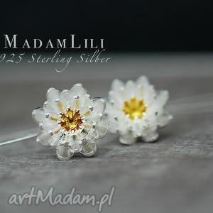 925 srebrne kolczyki lotos , kolczyki, lotos, kwiat, berlin, biżuteria, natura