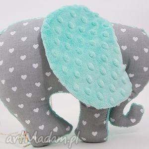słoń serduszka mięta, przytulanka, maskotka, słoń, słonik dla dziecka