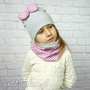 cienki komplet dla dziewczynki, czapka, komin, opaska, szalik, opaska