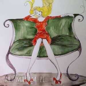 Akwarela i piórko ODPOCZYNEK artystki plastyka Adriany Laube, akwarela, kobieta, sofa