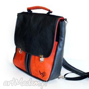 plecaki plecak torba rossa - szmaragd granat, retro, czerwień, kieszenie, teczka