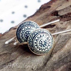 Kolczyki ze srebra z mozaikowym oczkiem, krótki, mozaika, srebro, 925,